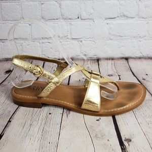 Franco Sarto Gold Strappy Sandals Womens 8 Shoes
